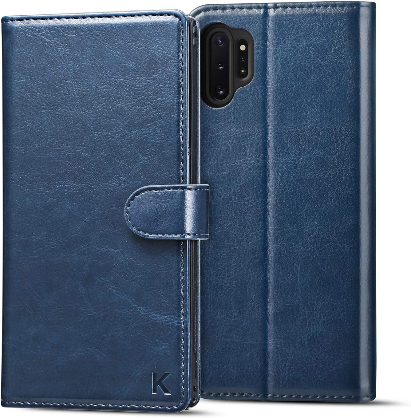 KILINO Galaxy Note 10 Plus 5G Wallet Case [S-Pen Fully Compatible][PU Leather + TPU][RFID Blocking][Shock-Absorbent Bumper][Card Slots][Kickstand] Flip Folio Cover for Samsung Galaxy Note10+ 5G (Blue)