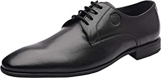Amoux Classic Men Plain Toe Oxfords Genuine Leather Dress Shoes, Business Office Formal Men's Leather Shoes with Low-Heel and TPR Sole