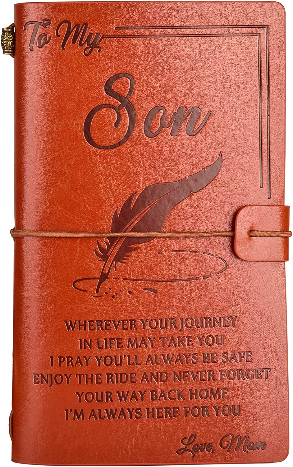 To My Son Leather Journal from Mom - Enjoy the Ride and Never Forget the Way Home Notebook - 136 Page Travel Diary Journal Sketch Book Graduation Back to School Gift for Boys