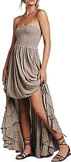 9cffe4f333 R.Vivimos Womens Summer Cotton Sexy Blackless Long Dresses