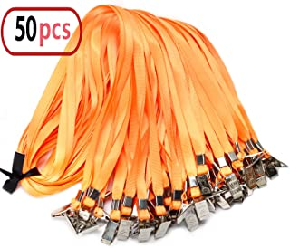 50pcs Orange Lanyard Clip Bulk 32-inch Neck Flat Woven Nylon Lanyard with Bulldog Clips Orange Lanyards for id Badges
