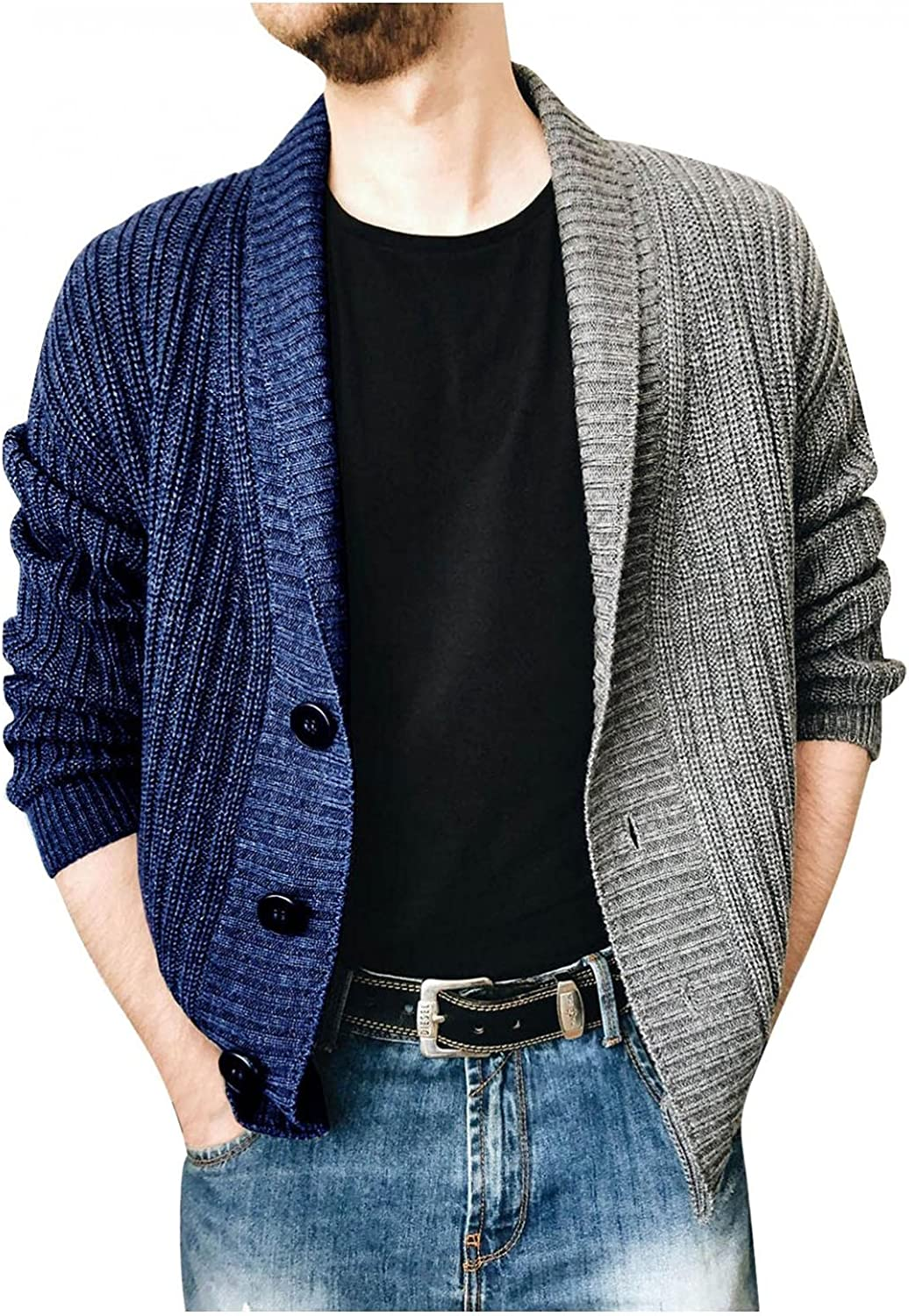 Men's Knitted Breasted Sweaters Autumn Patchwork Cardigan Fashion Outwear Casual Comfy Long Sleeve Button Down Sweater