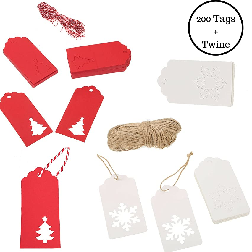 Christmas Holiday Kraft Paper Gift Tags with Twine Snowflake Tree 200 Count Bulk Kraft, White, Red (Kraft White Snowflake & Red Tree)
