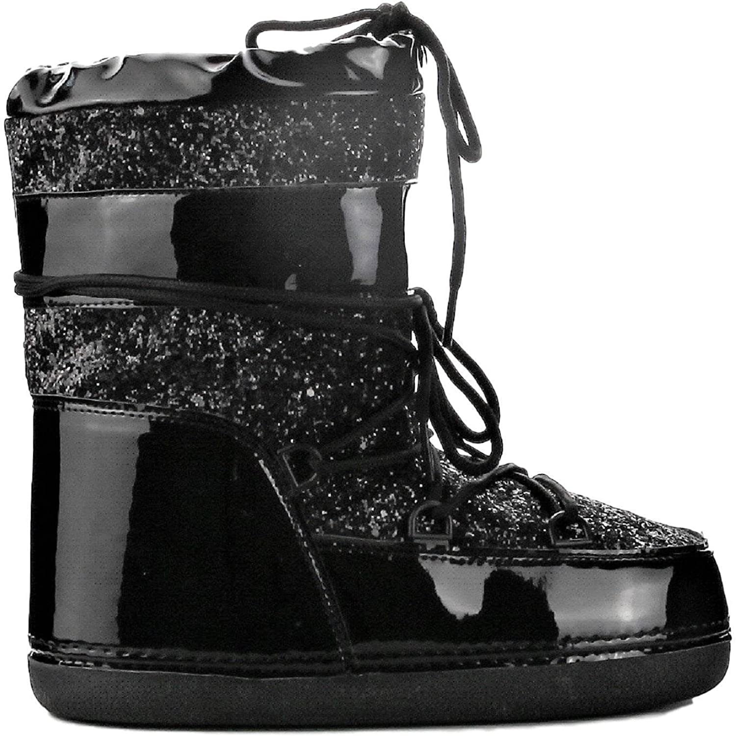 CAPE ROBBIN MB-11 Women Ankle High Ski Snow Winter Lace up Glitter Moon Boots Black