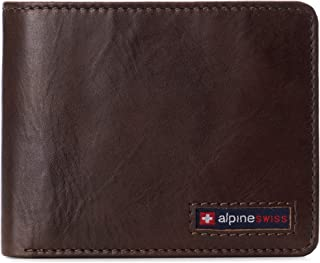 Alpine Swiss Men's RFID Connor Passcase Bifold Wallet Leather York Collection