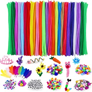 Adkwse Art and Crafts Supplies - 1000 Pcs Craft Art Supply Kit, Pipe Cleaners, Pompoms, Sequins, Pony Beads,Colorful Feath...
