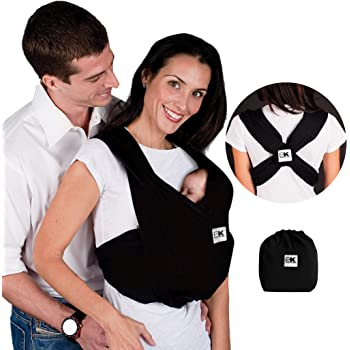 Baby K'tan Original Baby Wrap Carrier, Infant and Child Sling - Simple Wrap Holder for Babywearing - No Rings or Buckles - Carry Newborn up to 35 lbs, Black,Women 22-24 (X-Large), Men 47-52