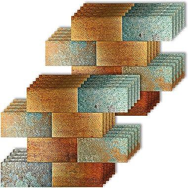 "HomeyMosaic Peel and Stick Backsplash Tile for Kitchen,12""x12"" Aluminum 3D Wall Sticker Retro Bronze(10 Sheets,Subway)"