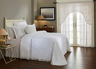 Better Trends Double Wedding Ring Collection 100% Cotton Tufted Chenille, Queen Bedspread, White - BSWRQUWH