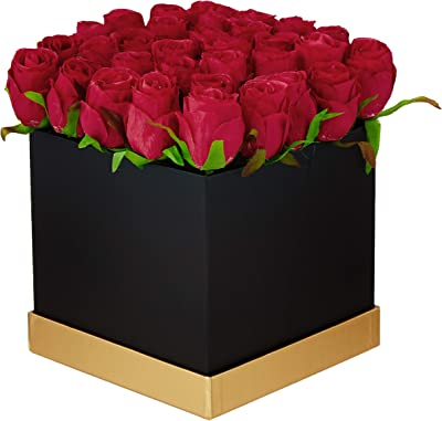 Fourwalls Artificial Rose Flowers in a Box for Valentines Day Gift (25 Flower in Box, 20 cm Tall, Black and Red)