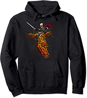 Skeleton Zombie Warrior Riding A Phoenix Bird Halloween Pullover Hoodie