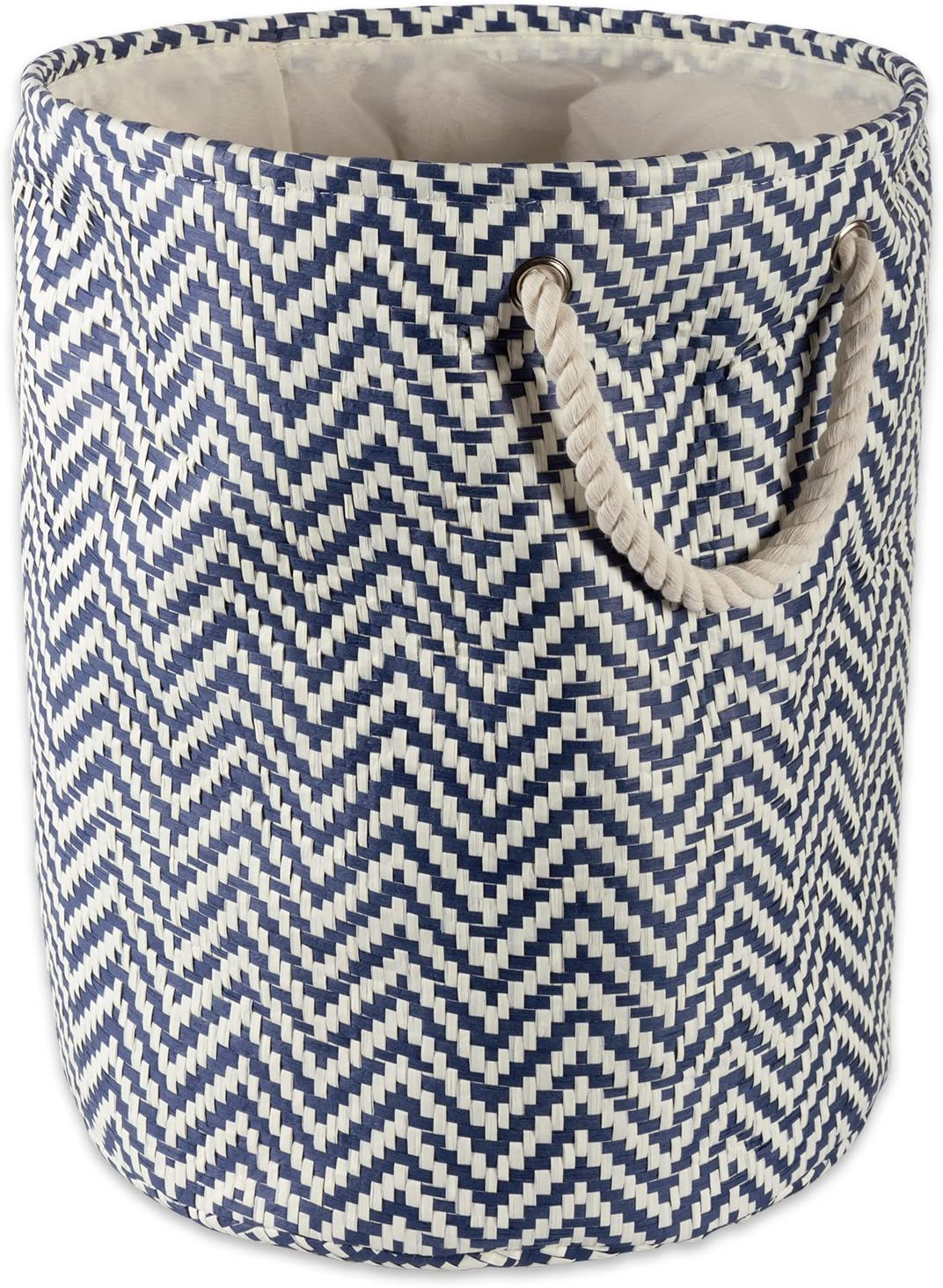 DII Don't miss the cheap campaign Chevron Woven Paper Collapsible Large Na Bin Round Storage