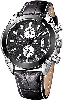 Megir Mens Sport Leather Watch Military Chronograph Analog Quartz Multifunction Wrist Watch