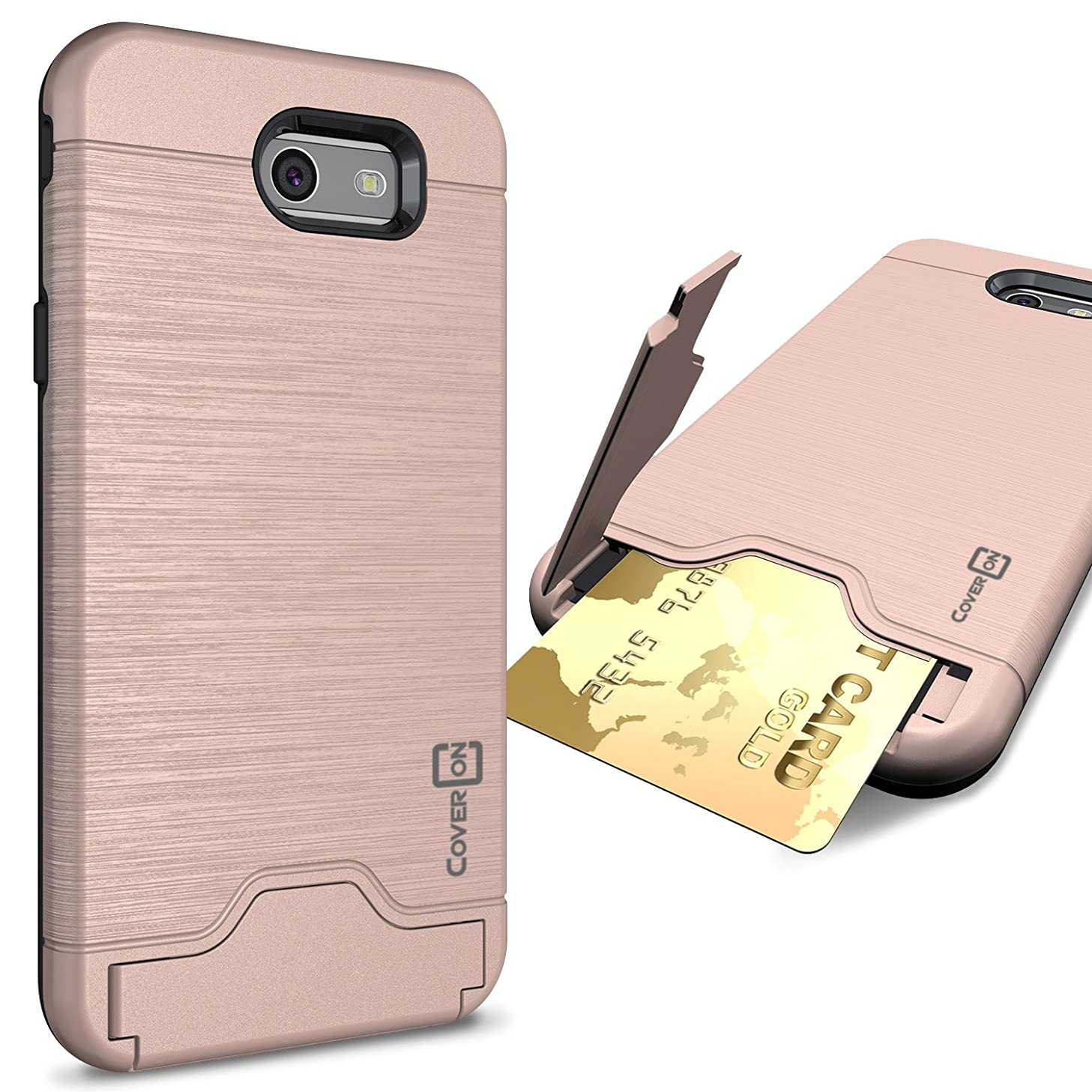 Galaxy J7 Prime Case, Galaxy J7 Sky Pro Case, Galaxy Halo Case, CoverON [SecureCard Series] Slim Hard Cover with Card Slot and Kickstand for Samsung Galaxy J7 Prime / J7 Sky Pro/Halo - Rose Gold