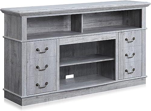 "popular BELLEZE online Stoneford 60"" TV Stand Media Console Table for TVs Up to 65"" online sale Living Room Storage, Light Grey sale"