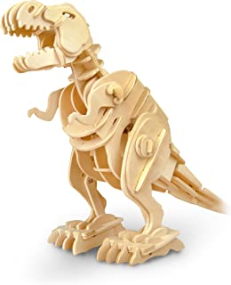 RoWood Moving Dinosaur 3D Wooden Puzzle Craft Toy, Gift for Boys Girls Kids, Age 8+, DIY Model Building Kits - Jurassic Walking T-Rex (Sound Control)