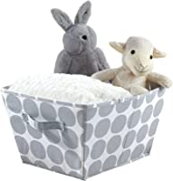 iDesign Canvas Storage Box, Large Foldable Toy Box Made of Cotton/Polyester Mix with 2 Handles, Polka Dot Fabric Box for the Cupboard, Bedroom and Nursery, Grey