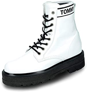 TOMMY JEANS Patent Leather Flatform Womens Boots White