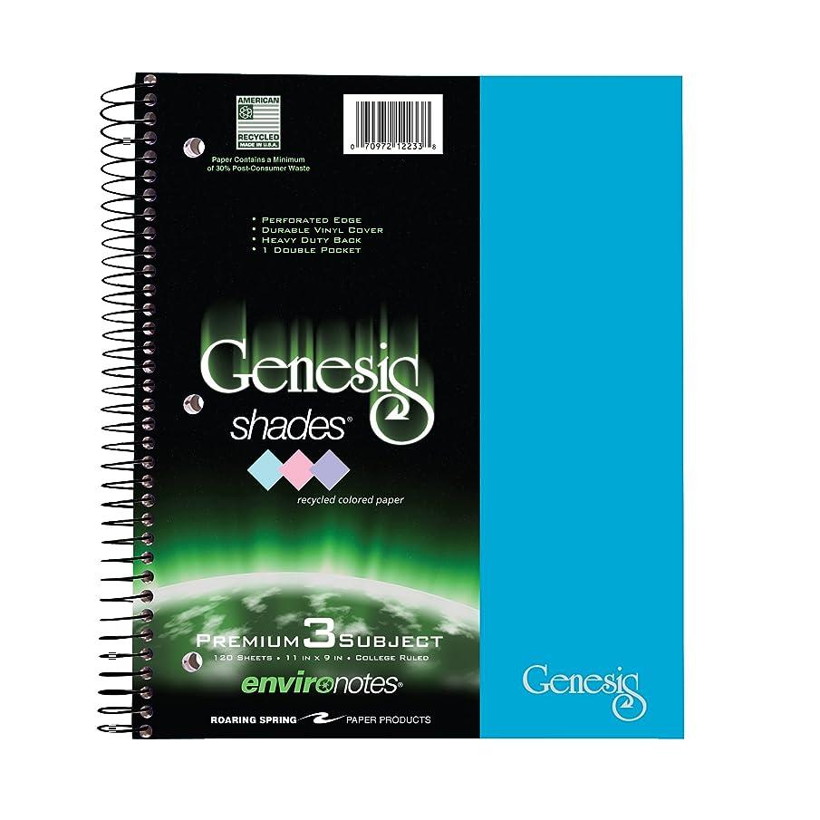 Roaring Spring Genesis Shades Wirebound Notebook, Three Subject, 11x9