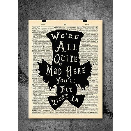 Nursery Wall Art Home Alice in Wonderland Print We/'re All Mad Quote Wonderland