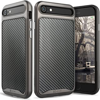 iPhone 8 Leather Case, iPhone 7 Case, Vena [vLuxe][Carbon Fiber Leather Back   Metallized Button] Slim Protective Cover for Apple iPhone 8 / iPhone 7 (4.7