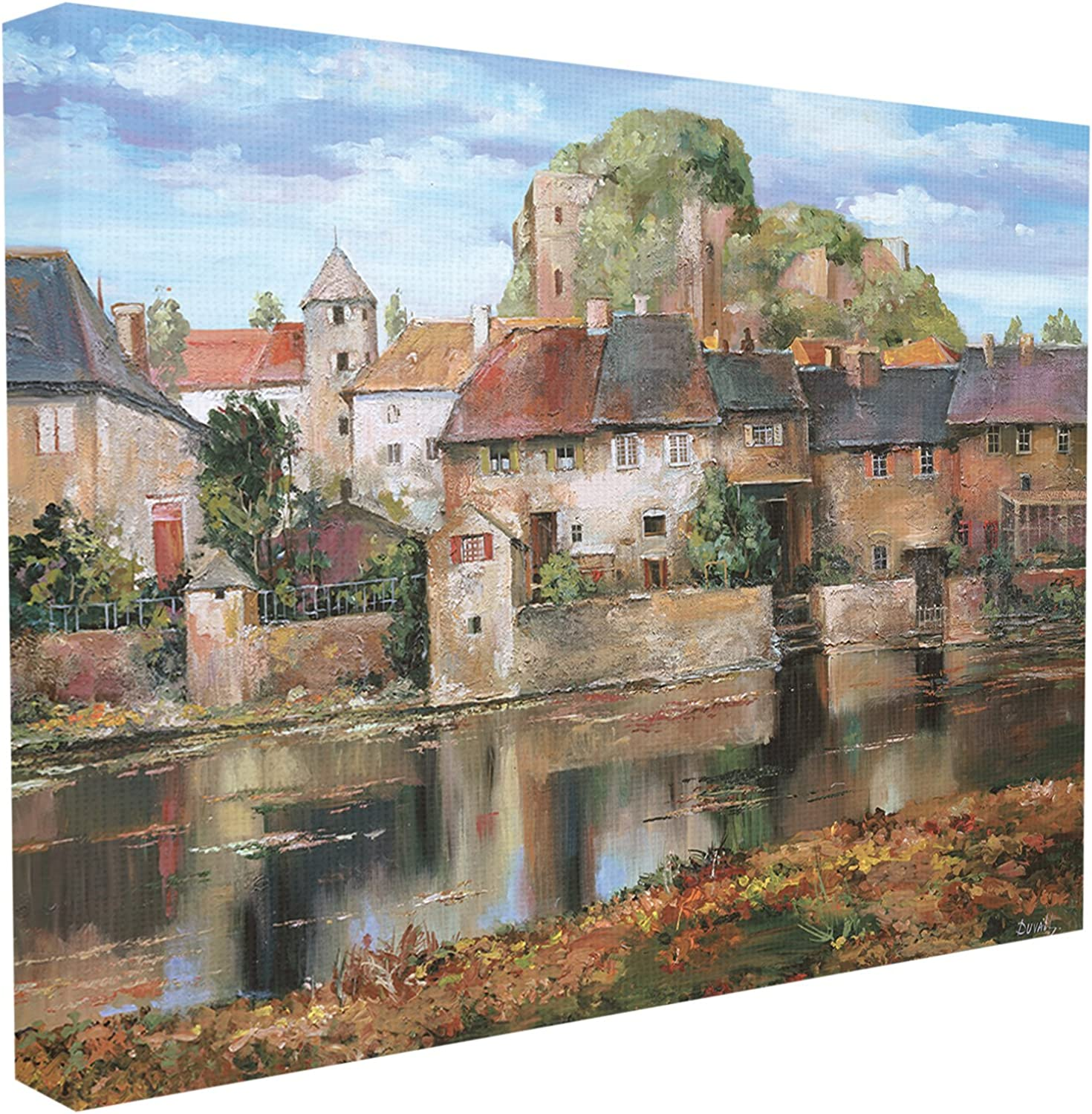 The Stupell Home Decor Collection Village on A Lake Stretched Canvas Wall Art