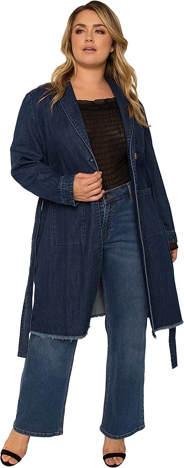 Standards & Practices Women's Plus Size Denim Robe Long Sleeves Collared Jacket