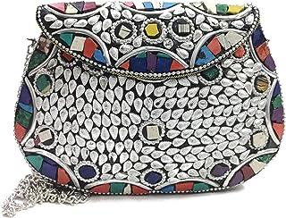 Trend Overseas Girl ethnic bags,vintage clutch,Metal Bag,stones purse, women clutch, Metal clutches