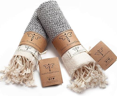 Smyrna Original Turkish Hand Towels Set of 2 | 100% Cotton, 16 x 40 Inches | Decorative Bathroom Peshtemal Towel for ...