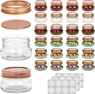 WILLDAN Set of 24-4OZ Mason Jars With Regular Lids Rose Gold Edition - Ideal for Body Scrubs, Lotions, Jam, Honey, Wedding Favors, Shower Favors, Baby Foods, 30 Whiteboard Labels Included