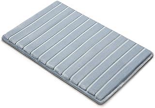 Microdry Memory Foam Softlux Skid-Resistant Bath Mat, 17 x 24 in, Blue