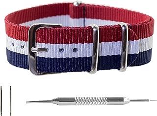 Benchmark Basics NATO Watch Band – Ballistic Nylon Strap + Spring Bar Tool | 18mm, 20mm, 22mm & 24mm | Multiple Colors