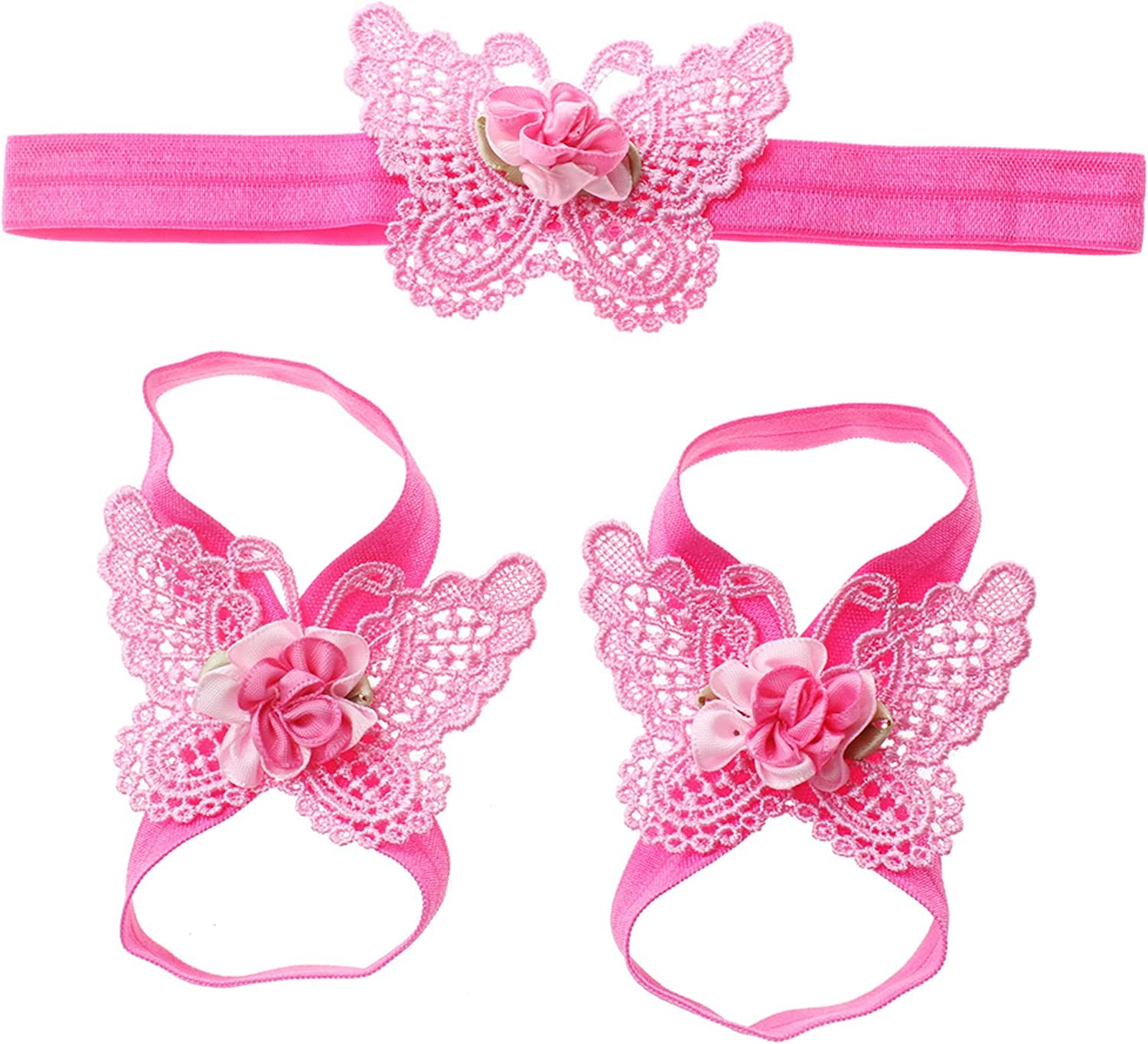 Baby girls infant crochet butterfly headbands and knitted flower barefoot sandals.(BBFJ3)