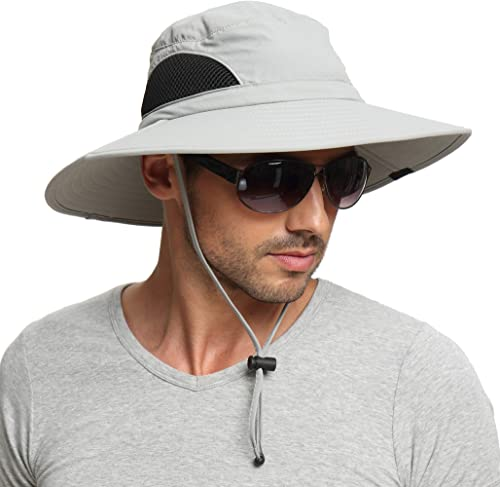 EINSKEY Sun Hat for Men/Women, Wide Brim UV Protection Bucket Hat Foldable Waterproof Outdoor Boonie Cap for Safari, ...