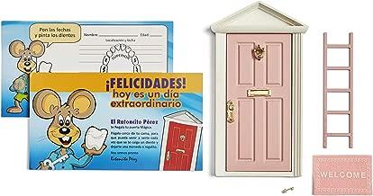 ? Ratoncito Pérez: Puerta Mágica Rosa + Escalera + Felpudo + Llave + Postal de Felicitación + dibujo para anotar y pintar las fechas de los dientes caídos