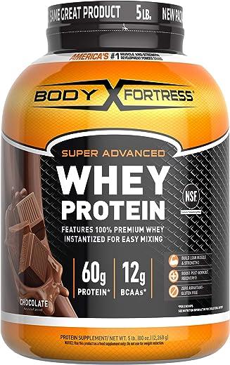 Body Fortress Super Advanced Whey Protein Powder, Chocolate Flavored, Gluten Free, 5 Lb