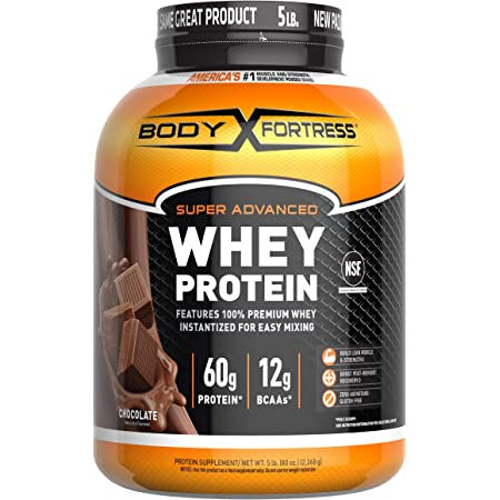 Body Fortress Super Advanced Whey Protein Powder(Gluten Free/Packaging May Vary), Chocolate, 5 Pound (Pack of 1), 80 Oz