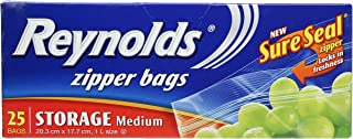 Reynolds Storage Zipper Bags, Medium, 25ct, 20.3cm x 17.7cm