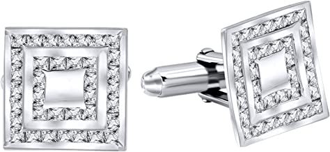 Men's Sterling Silver .925 Square Cufflinks with Princess-Cut Cubic Zirconia Stones, Platinum Plated, 13.2 mm. By Sterling Manufacturers