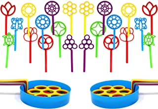 4E's Novelty Bulk Bubble Wands Assortment Pack of 24 Includes 2 Trays and 11 Different Shaped Wands, 2 of Each Design 8 inches Plus Bonus Emoji Stickers