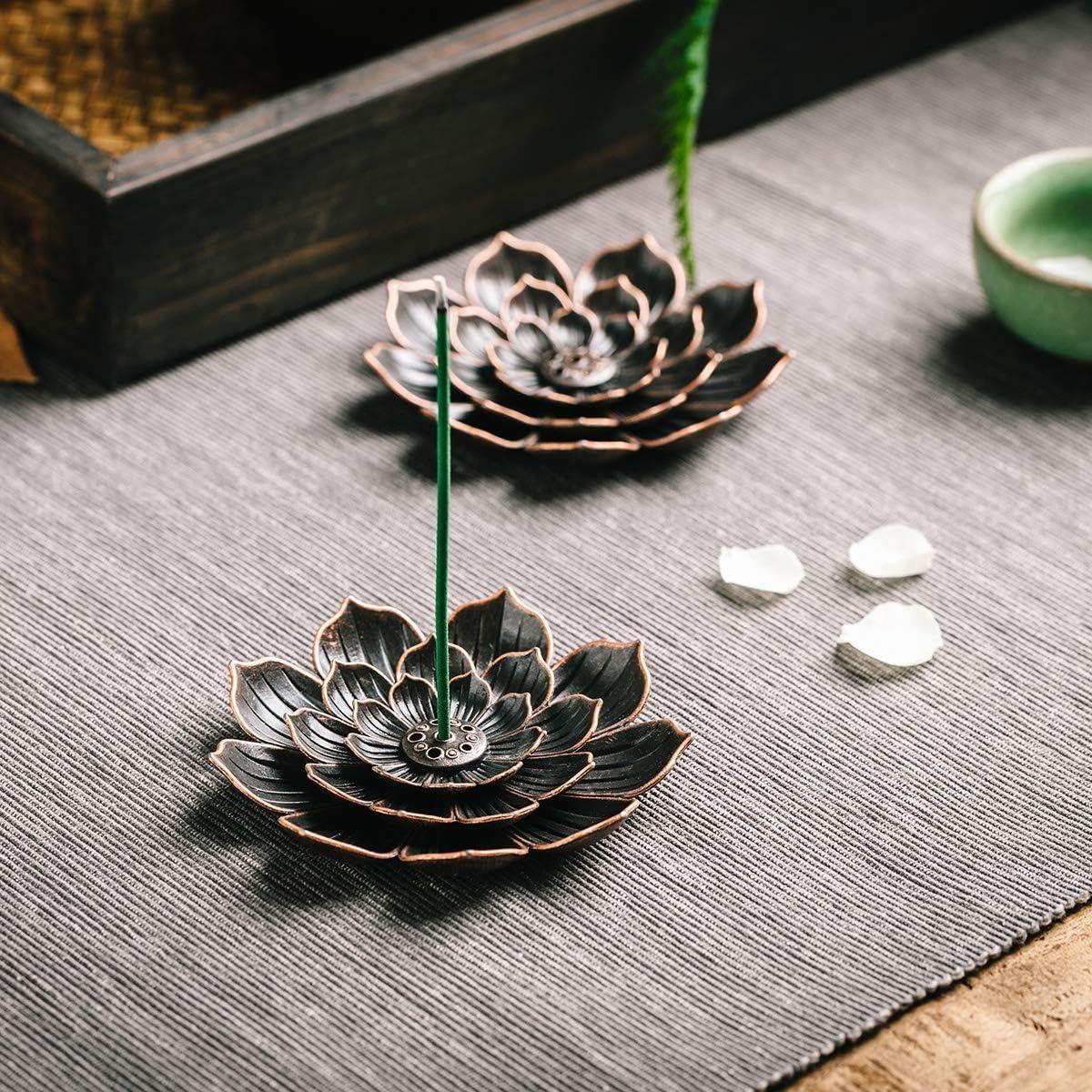 GARMOLY Incense Burner, Incense Holder for Sticks, Brass Lotus Incense Stick Holder with 30 Incense and Detachable Ash Cather