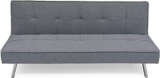 comprar comparacion Homely - Sofá Cama de 3 plazas Apertura Clic-clac KOHTAO tapizado en Tela Gris de 176 cm
