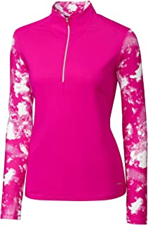 Cutter & Buck Womens LAK00098 Long Sleeve Energy 1/2 Zip Mock Neck Overknit Long Sleeves Golf Shirt - Turquiose