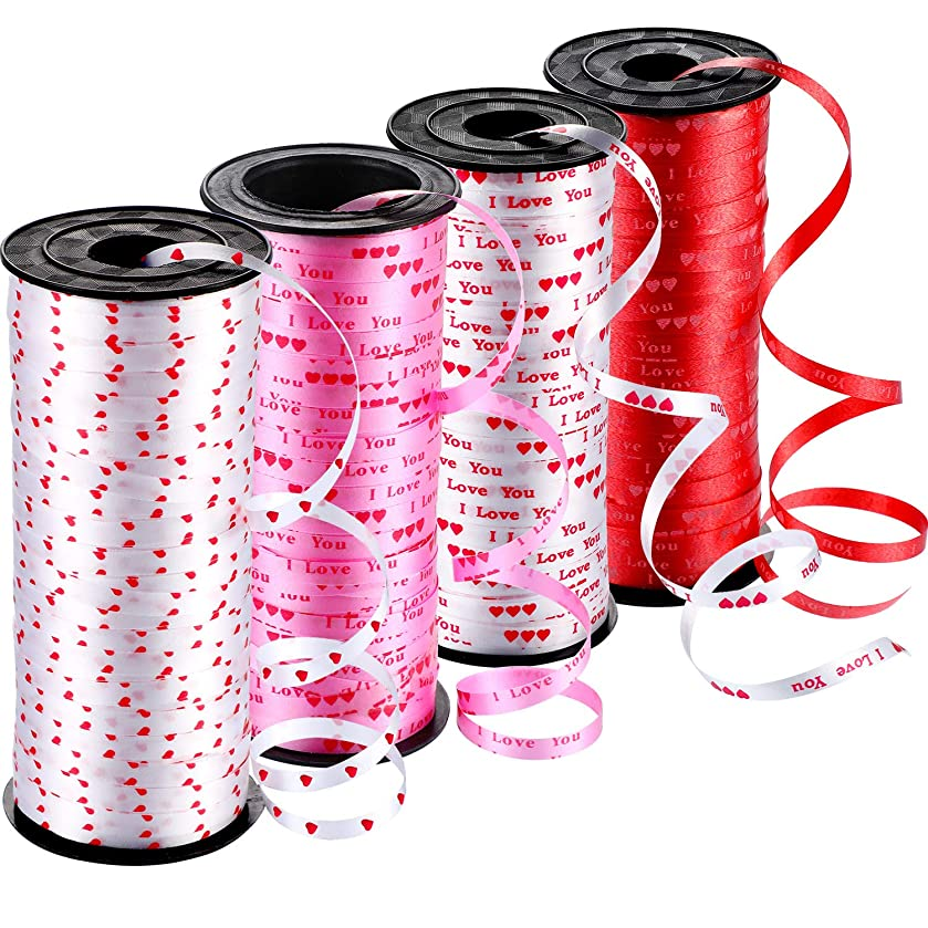 Leinuosen 4 Rolls Valentine's Day Hearts Printed Curling Ribbons Balloon Ribbon for Gift Wrapping Party Festival Art Craft Decorations, Total 400 Yards