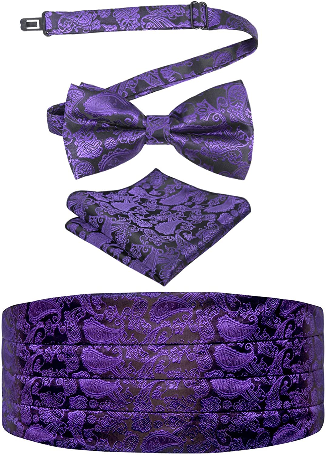 Alizeal Mens Paisley/Solid Pre-tied Party Adjustable Bow Tie, Cummerbund and Pocket Square Gift Set
