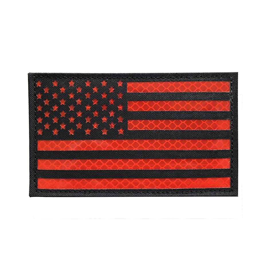 3x5 Large Black Red Reflective US USA American Flag Patch Tactical Vest Patch Hook-Fastener Backing (5