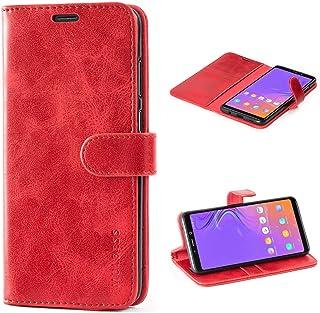 Mulbess Cover per Samsung Galaxy A9 2018, Custodia Pelle con Magnetica per Samsung Galaxy A9 2018 [Vinatge Case], Vino Rosso