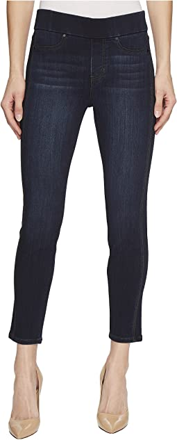 Liverpool - Petite Sophia Ankle Pull-On with Seaming Detail in Silky Soft Stretch Denim in Dunmore Dark