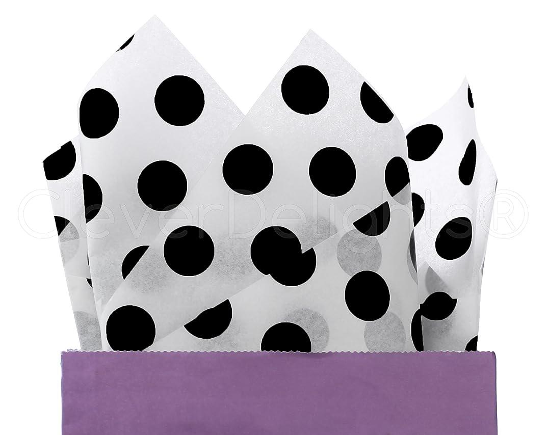 CleverDelights Black Polka Dot Premium Tissue Paper - 300 Sheets - 20
