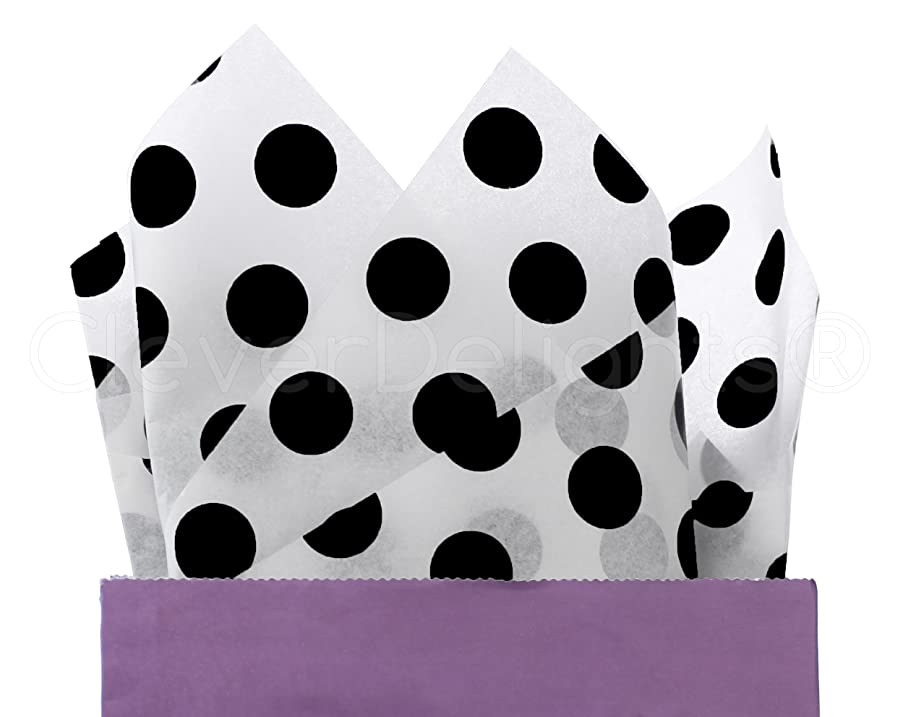CleverDelights Black Polka Dot Premium Tissue Paper - 100 Sheets - 20